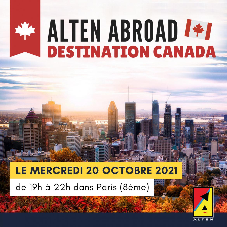 événement ALTEN ABROAD : destination CANADA - Mercredi 20 Octobre 2021 de 19 à 22h à Paris (8e arrondissement)
